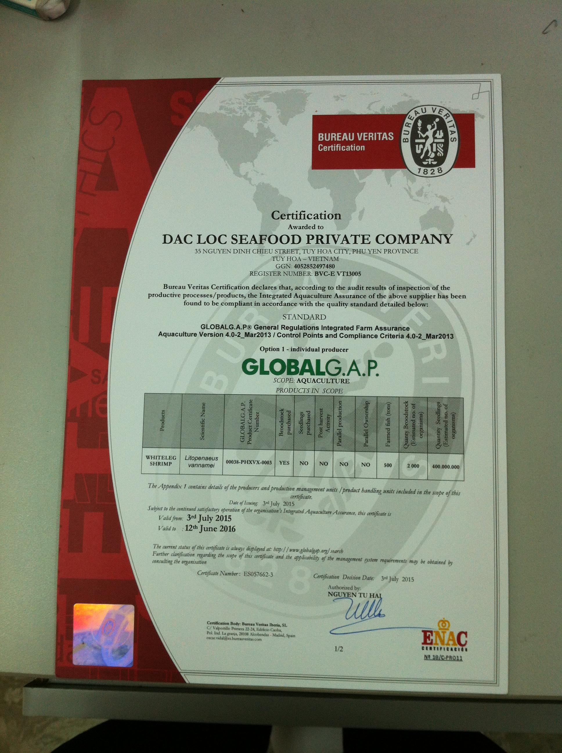Chứng nhận GLOBAL G.A.P.